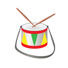 Musical drum on a white
