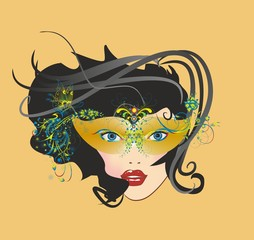 maska karnawałowa i twarz,