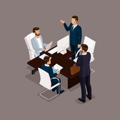 Isometric people, businessmen 3D business woman. Office staff to discuss the work plan, the head of subordinates on a dark background