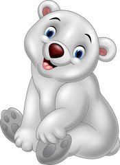 Cartoon polar bear sitting