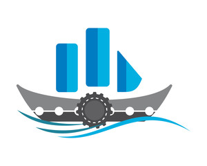 blue sail ship icon