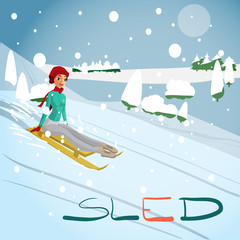Winter card background. Woman rolling downhill on a sled. Flat c