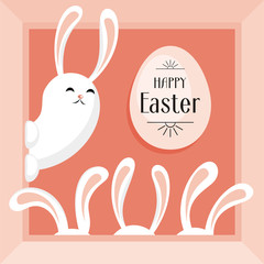 Happy Easter greeting card. The image of Easter eggs and white rabbits on a pink background. Vector illustration.
