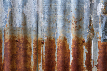 Old and rusty iron galvanise plate on house textures and color f