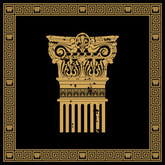 Greek style frame with vintage ornament. Golden pattern on a black background.