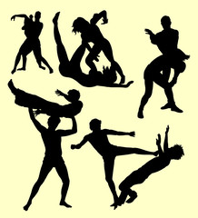 Wrestling fight sport silhouette. Good use for symbol, logo, web icon, mascot, sign, sticker, or any design you want