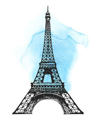 Eiffel Tower in Paris vector illustration on a abstract watercolor stain
