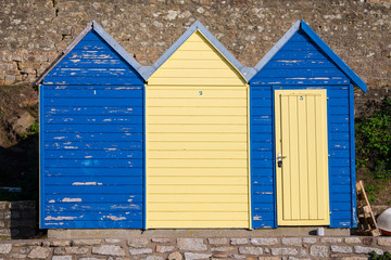 Bathing huts on the beach, in winter, Brittany, Ile-aux-Moines