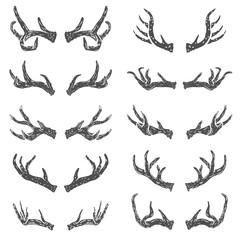 Set of hand drawn deer horns. Design elements for logo, label, emblem, sign, brand mark. Vector illustration.