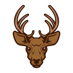 Deer head mascot. Design element for logo, label, emblem, sign, badge Vector illustration