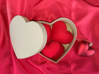 Red heart on red fabric for valentines day