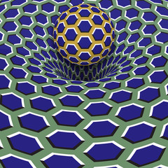 Sphere above blue hexagons hole. Optical motion illusion illustration.