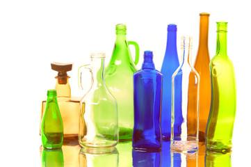 Texture, background. Empty bottles