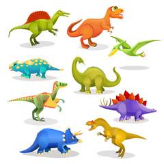 Collection of prehistoric dinosaur habitants. Vector