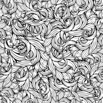 Abstract vector background, black and white seamless pattern, monochrome. Hand drawing, scrollwork, curls, waves, natural stylized floral ornament. Graphic art for decoration
