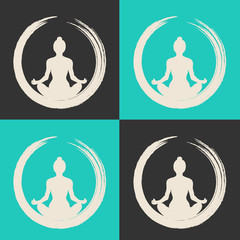 Vector Woman Doing Yoga with Zen Circle (Enso)