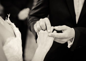 Wedding vows in black and white