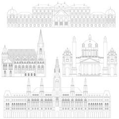 Austrian City sights in Vienna. Austria Landmark Travel And Journey Architecture Elements Stephansdom, Karlskirche, Belvedere palace, Town hall