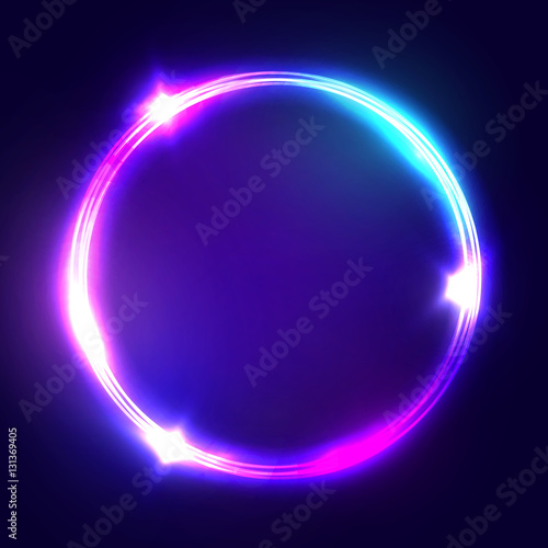 Neon sign. Round frame with glowing and light. Electric bright 3d ...