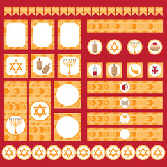 Printable set of Jewish holiday Hanukkah party elements. Templates, labels, icons and wraps with traditional donuts, holiday candlestick menora and scroll, horn and wooden spinning top and coins.