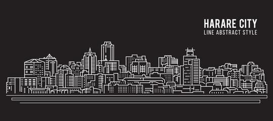 Cityscape Building Line art Vector Illustration design - Harare city