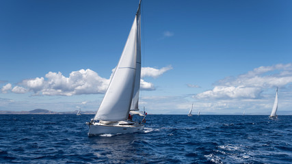 Yachting regatta in the Mediterranean sea near the Syros island