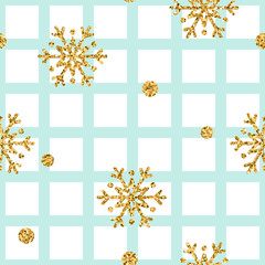 Christmas gold snowflake seamless pattern. Golden glitter snowflakes on blue and white square background. Winter snow design wallpaper. Symbol holiday, New Year celebration Vector illustration
