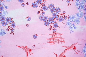 Texture, background. Cotton fabric, linen stylized sakura