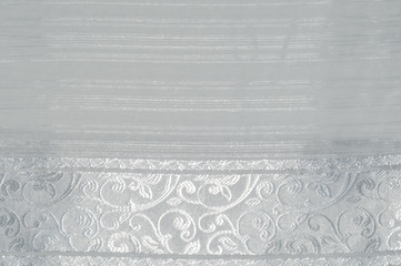 Tulle, organza, white, with a pattern of flowers