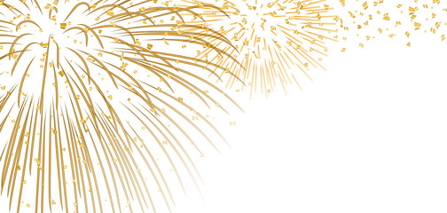 Gold bright firework, confetti on white Christmas background. Golden decoration abstract design Happy New Year card, greeting, Xmas holiday celebrate, invitation. Space effect Vector illustration