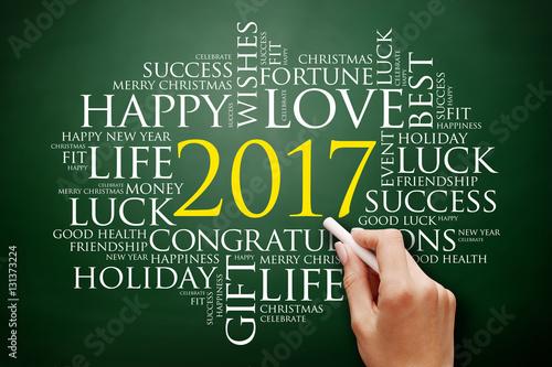 2017 year greeting word cloud collage happy new year celebration greeting card on blackboard