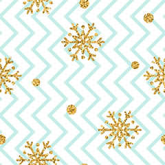 Christmas gold snowflake seamless pattern. Golden glitter snowflakes on blue and white zig zag background. Winter snow design wallpaper. Symbol holiday, New Year celebration Vector illustration