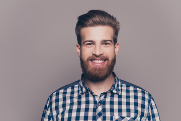 portrait of handsome smiling young man looking at camera isolate Wall mural