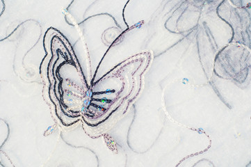 Texture, background. Tulle, organza. Beautiful patterns with but