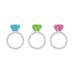 Rings diamond, ruby, emerald and sapphire on a white background. Vector illustration.