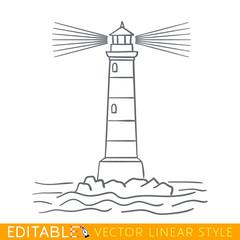 Lighthouse. Editable outline sketch. Stock vector illustration.
