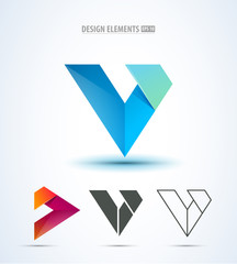 Vector abstract logo corporate icon design set. Isolated on white. Abstract letter v