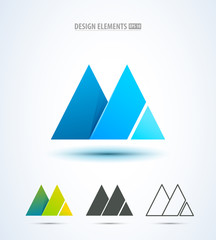 Abstract mountain icon or letter M logo elements. Origami style
