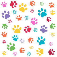 Colorful paw pattern