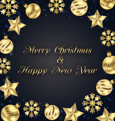 Christmas Frame of Golden Baubles, Greeting Banner