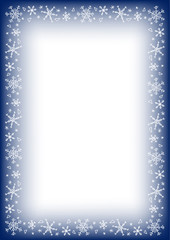 Frame border with snowflake on blue background, A4 rectangular format size. Vector illustration.