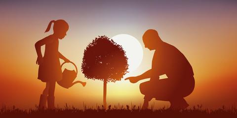 Enfant - Jardiner - Grand-Père - Coucher de soleil