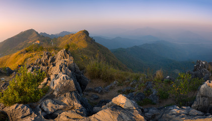 Beautiful landscape of Pha Tand mountain at sunset in Chiang Rai