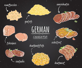 German cuisine. Collection of delicious food on chalkboard. Concept design for decoration restaurants, menu. Vintage hand drawn vector illustration