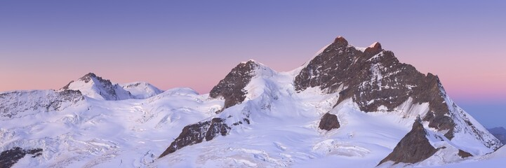 First light over the Jungfrau from Jungfraujoch in Switzerland