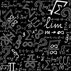 Mathematical education vector endless texture with various math signs, formulas, figures