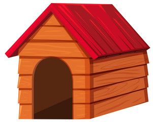 Doghouse with red roof