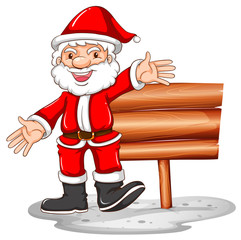 Santa Claus and wooden sign