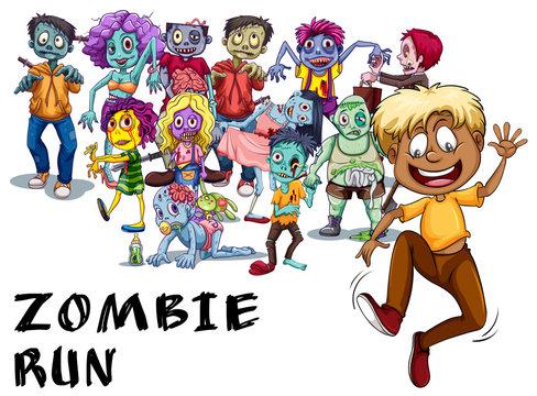 Many zombies chasing human