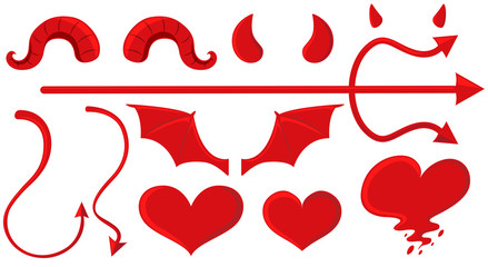 Angel and devil elements in red